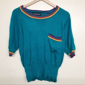 Vintage Dolman Style Cropped Teal Shirt Size M